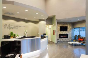 reception and lobby of advanced mansfield dental